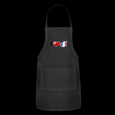 I love France! French flag heart love gift idea - Adjustable Apron