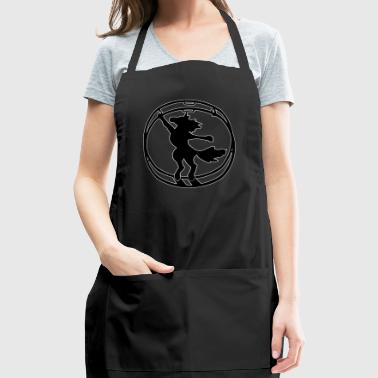 Fabulous German wheel unicorn white outline - Adjustable Apron