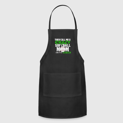 Funny Softball Mom T Shirt They call me crazy Green - Adjustable Apron