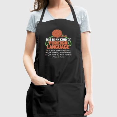 Foreign Language Crochet Knitting T Shirt - Adjustable Apron