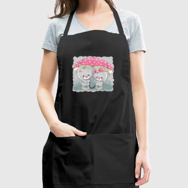 Cats love rain romantic umbrella - Adjustable Apron