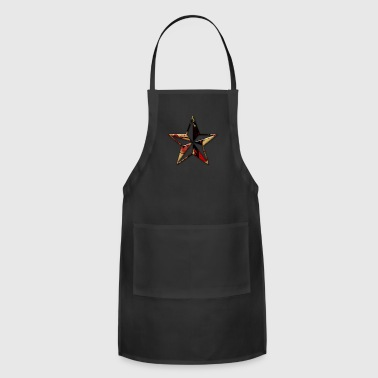 abstract red and gold paint splatter icon natural - Adjustable Apron