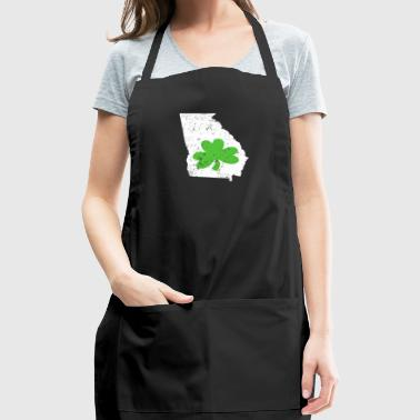Green Shamrock Georgia Irish St Pattys Day Shirt - Adjustable Apron