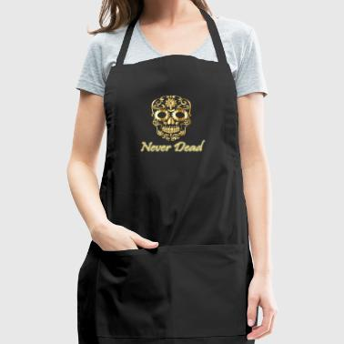 Golden skull Never Dead with artistic forms - Adjustable Apron