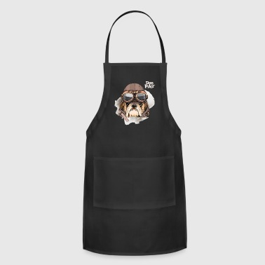 Portrait Bulldog Vintage Leather Aviator Helmet - Adjustable Apron