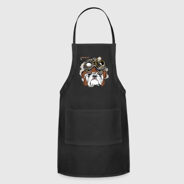 Bulldog Portrait Steampunk Helmet - Adjustable Apron