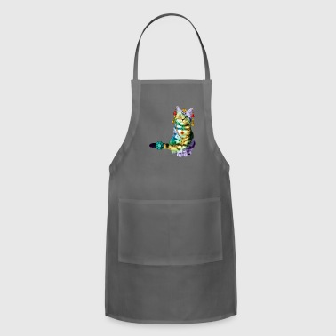 Black Deco Cat Rainbow with lot of Jewelry - Adjustable Apron