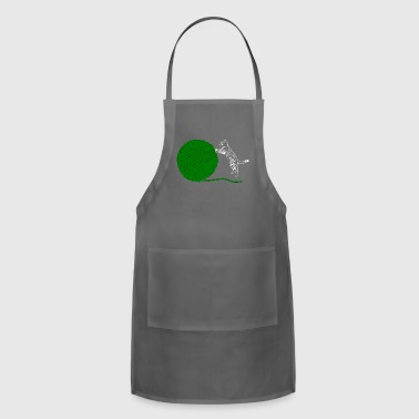 Kitty Cat Green Wool - Adjustable Apron