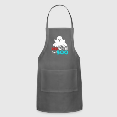Red White and Boo Ghost funny quote gift - Adjustable Apron