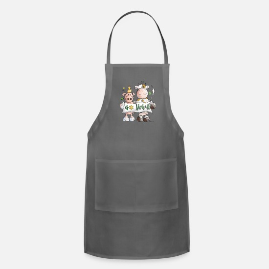 Vegan Aprons - Go Vegan - Veggie - Vegetable - Cartoon - Gift - Apron charcoal