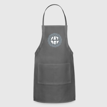 swirl circle round design fat boy saying man fat t - Adjustable Apron
