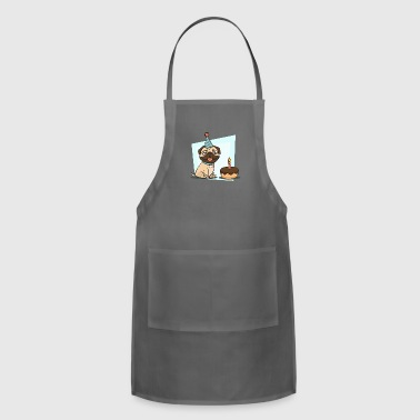 Happy pug at birthday party - Adjustable Apron
