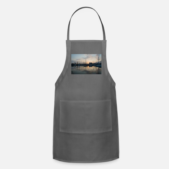 Skies Aprons - Barcelona harbour sunrise - Apron charcoal