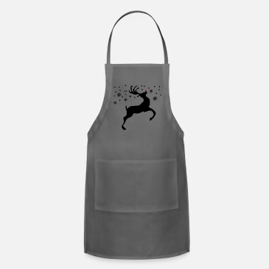 Sparkly Reindeer with a red nose and a sparkly sky - Adjustable Apron
