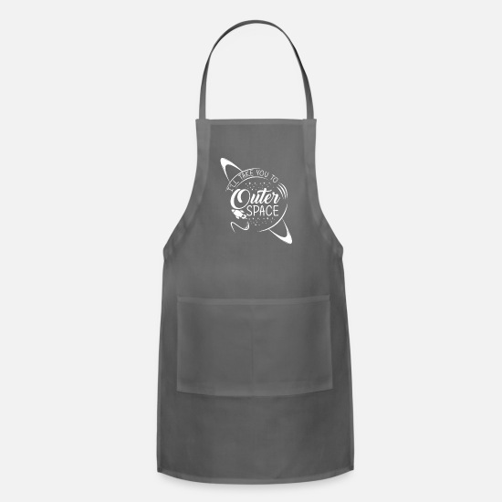 Space Aprons - Universe Space Weightless Rocket Planet - Apron charcoal