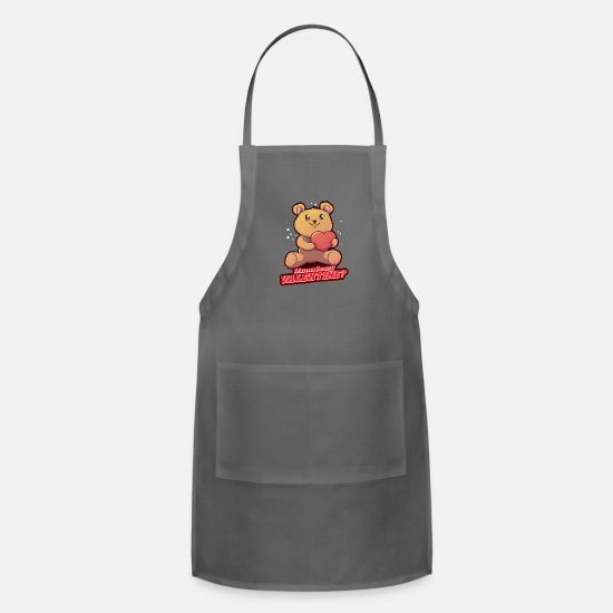 Love Aprons - Valentine's day Teddy Bear Toy Love Heart - Apron charcoal