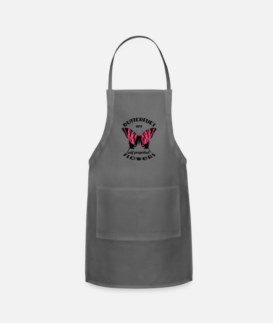 Butterfly Daughter Aprons - Butterflies Are Self Propelled Flowers - Apron charcoal