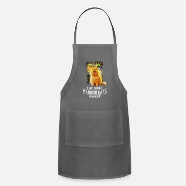 Warrior Eat Sleep Warrior Cats Repeat Funny Cat Lover Tees - Apron