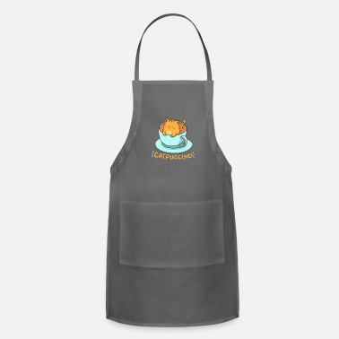 Coffee Kawaii Cat and Cappuccino = Catpuccino - Adjustable Apron