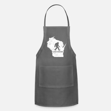 Wisconsin Funny Funny Bigfoot Wisconsin Tshirt Love Wisconsin - Apron