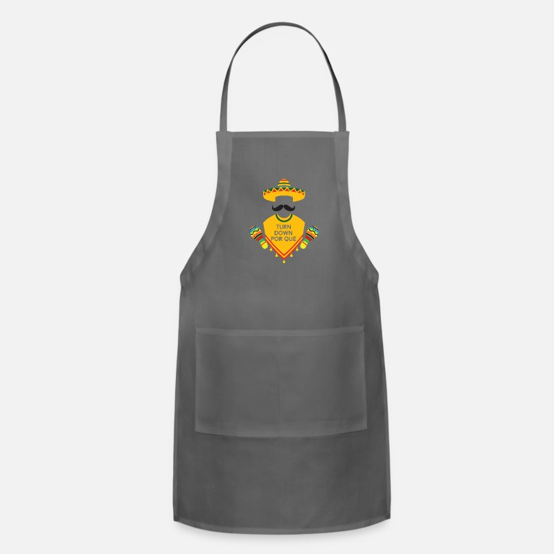 Funny Aprons - Turn Down Por Que funny Cinco De Mayo Fiesta gifts - Apron charcoal