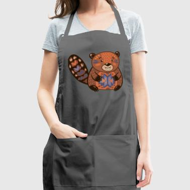Beaver funny cartoon animal vector illustration - Adjustable Apron