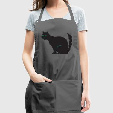 BLACK CAT SITTING WITH GREEN EYES - Adjustable Apron