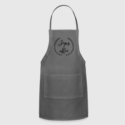 Jesus and Coffee Laurel Wreath Farmhouse Design - Adjustable Apron