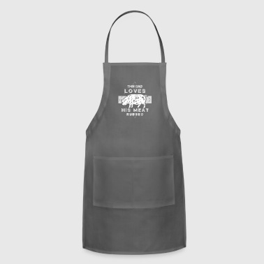 Dad Loves His Meat Rubbed Barbeque Dad - Adjustable Apron