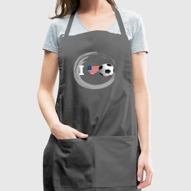 i Love Soccer ball sport usa flag america goal LOL - Adjustable Apron