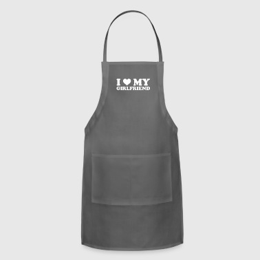 I Love My Girlfriend Valentines Romantic February - Adjustable Apron