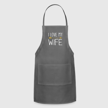 I Love My Wife With Tribal Arrow Romantic - Adjustable Apron