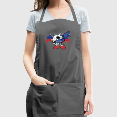 Dabbing Soccer Ball Russia Team Fan girl Flag gift - Adjustable Apron