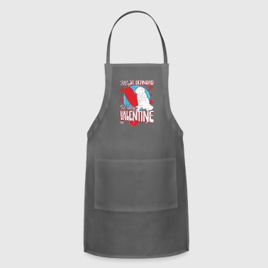 My St. Bernard Is My Valentine Funny Dog Distresse - Adjustable Apron