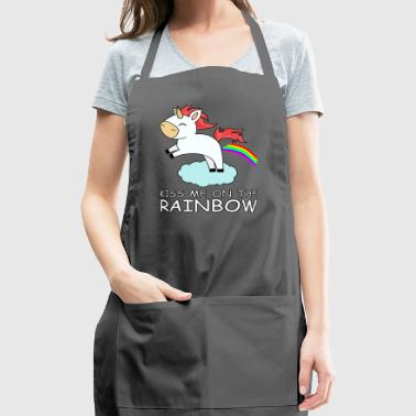 kiss me on the rainbow unicorn print - Adjustable Apron