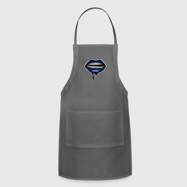 Glossy Lips (Blue) - Adjustable Apron