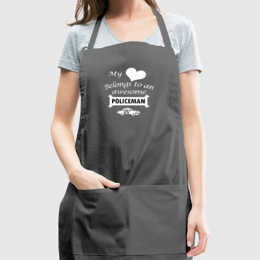 Policeman Job Love Gift-My Heart-Birthday Present - Adjustable Apron