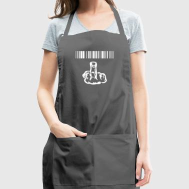funny provocatively barcode Fuck Off middle finger - Adjustable Apron