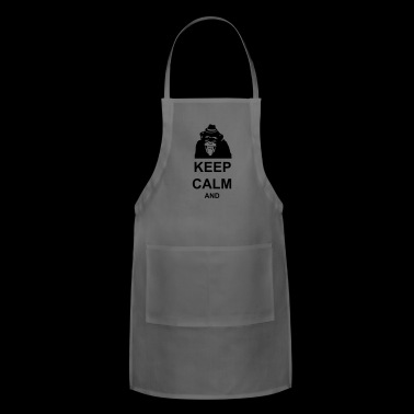 KEEP CALM MONKEY CUSTOM TEXT - Adjustable Apron