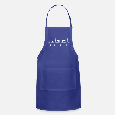 Agriculture My heart beats for cows farmers! ekg farm gift - Adjustable Apron