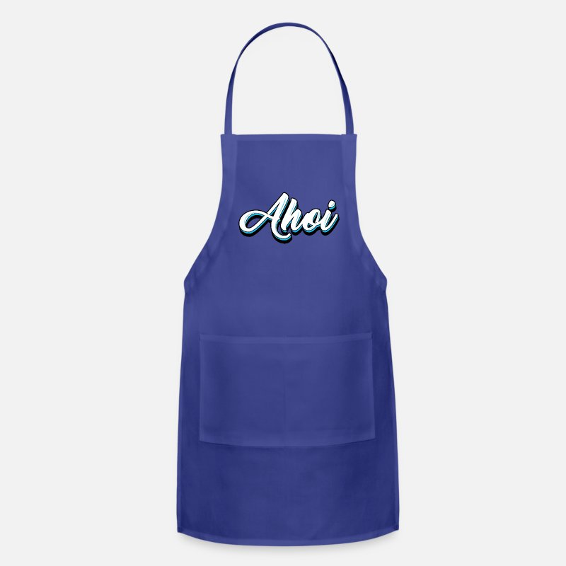Gift Idea Aprons - Ahoi Ahoy Sea Call - Apron royal blue