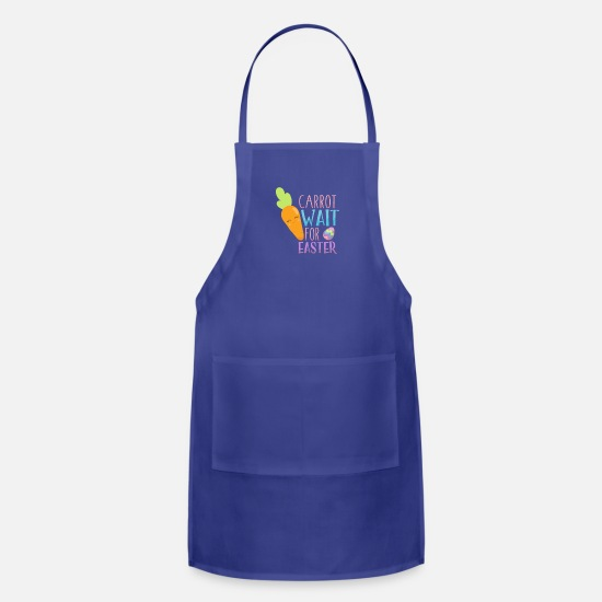 Easter Bunny Aprons - Kids Easter Carrot Wait for Easter Kawaii Carrot - Apron royal blue