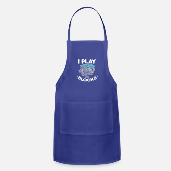 Funny Aprons - I Play With Blocks - Apron royal blue
