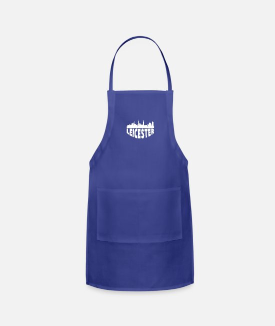 English Aprons - Leicester England Cityscape Skyline - Apron royal blue