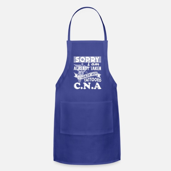 Funny Aprons - Taken By Tattooed CNA Shirt - Apron royal blue