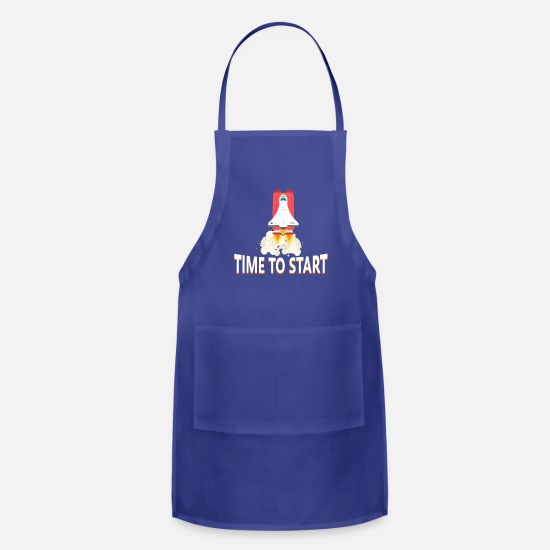 Gift Idea Aprons - Time to start rocket start - Apron royal blue