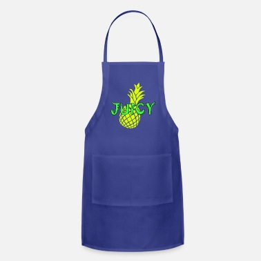 Green Text juicy, bright yellow pineapple and neon green text - Apron