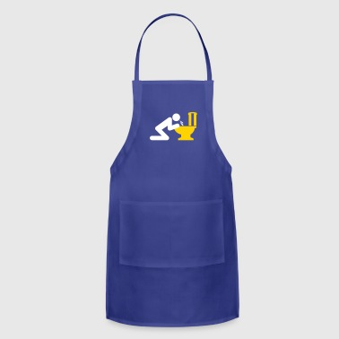 Drunk Man Puking In The Toilet, Having A Hangover. - Adjustable Apron