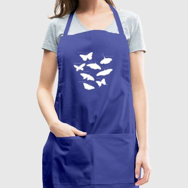 Types of butterflies. White insect t-shirt design - Adjustable Apron