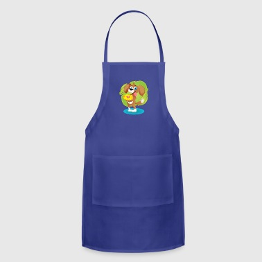 Lovely Puppy Holding Daisy - Adjustable Apron